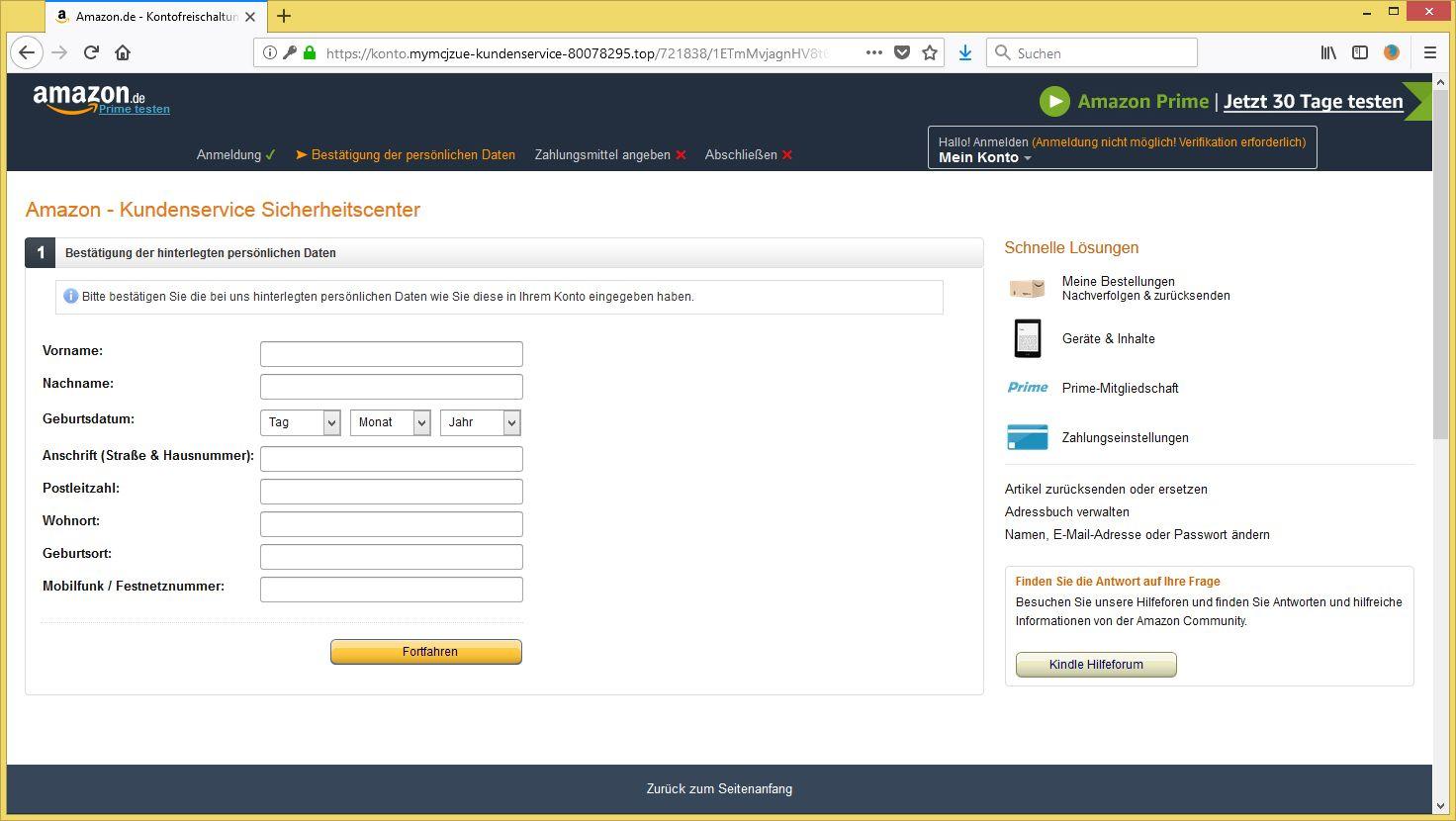 Amazon Datenabgleich Erforderlich