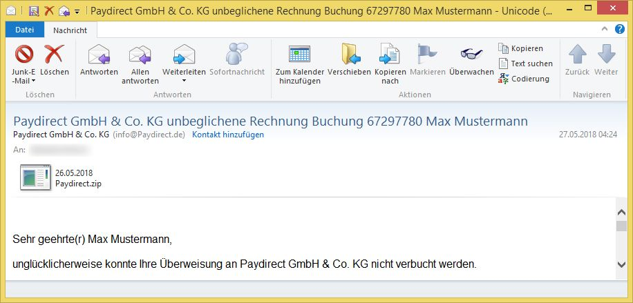 paydirect gmbh co kg unbeglichene rechnung buchung. Black Bedroom Furniture Sets. Home Design Ideas