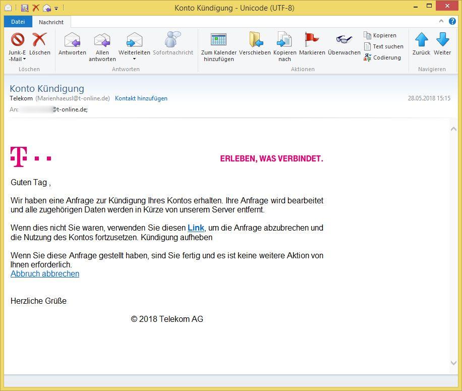 Telekom Phishing Konto Kündigung Von Telekom Marienhaeusl At T Online
