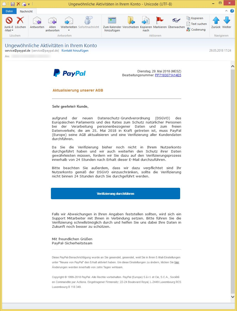 Ungewöhnliche Aktivitäten In Ihrem Paypal-Konto
