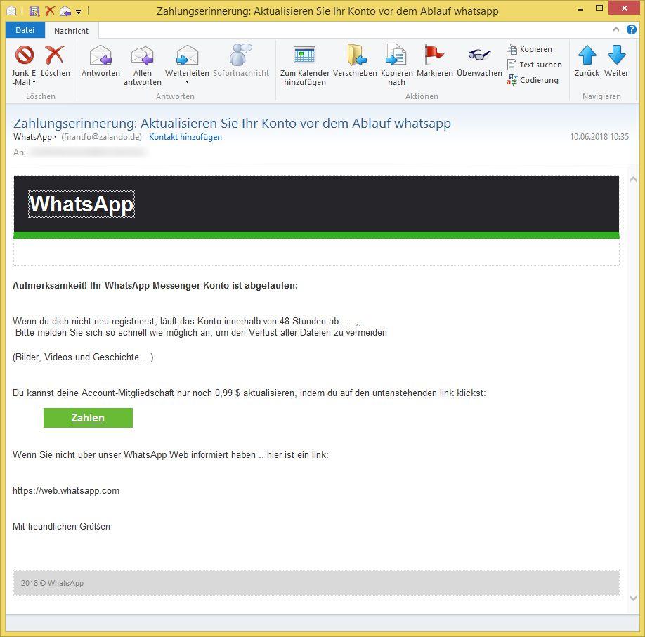 Email Whatsapp Abgelaufen