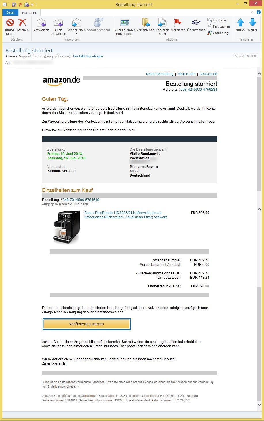 bestellung storniert von amazon support admin ist phishing vorsicht e mail. Black Bedroom Furniture Sets. Home Design Ideas