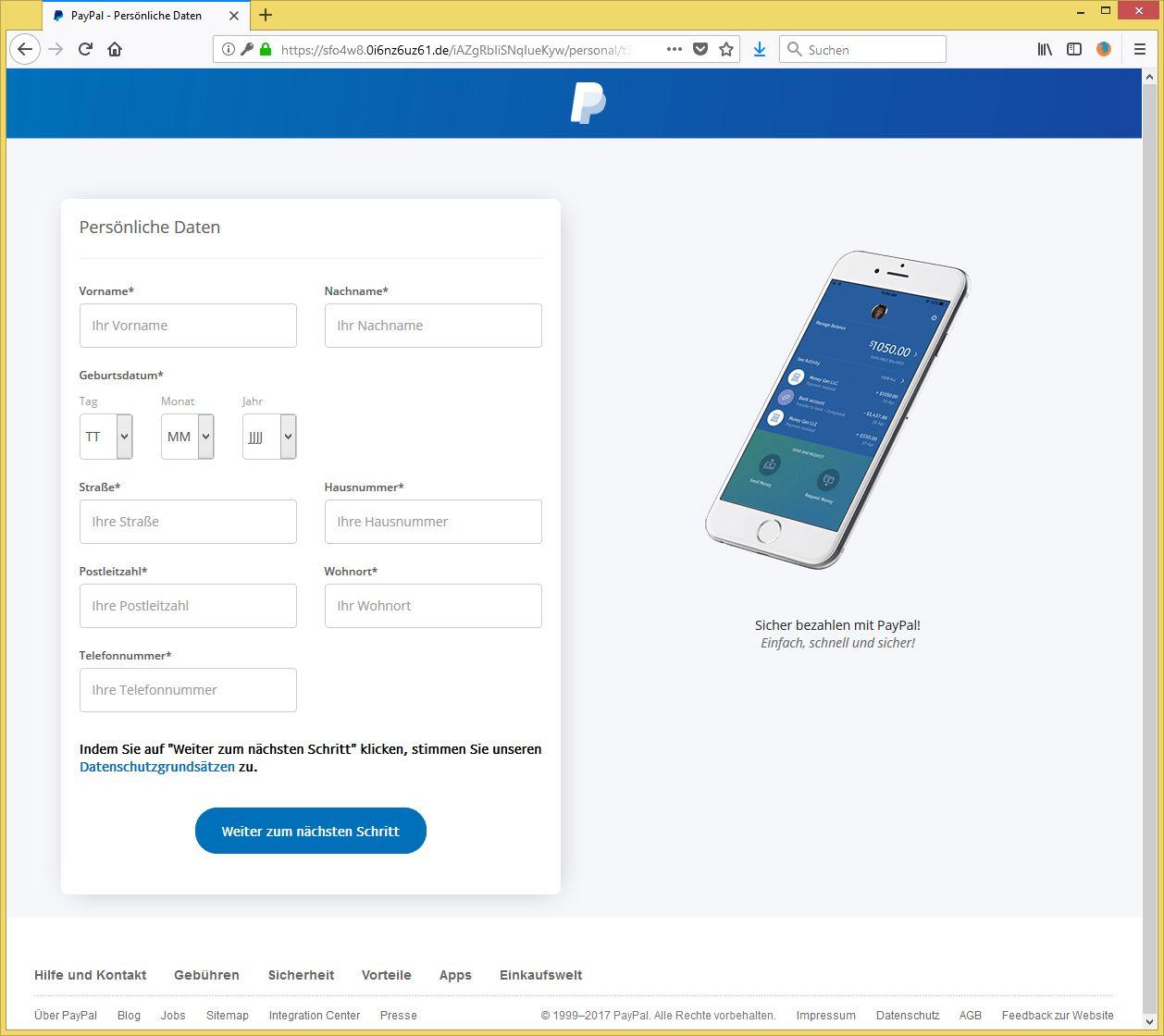 Sicherheit Paypal Email