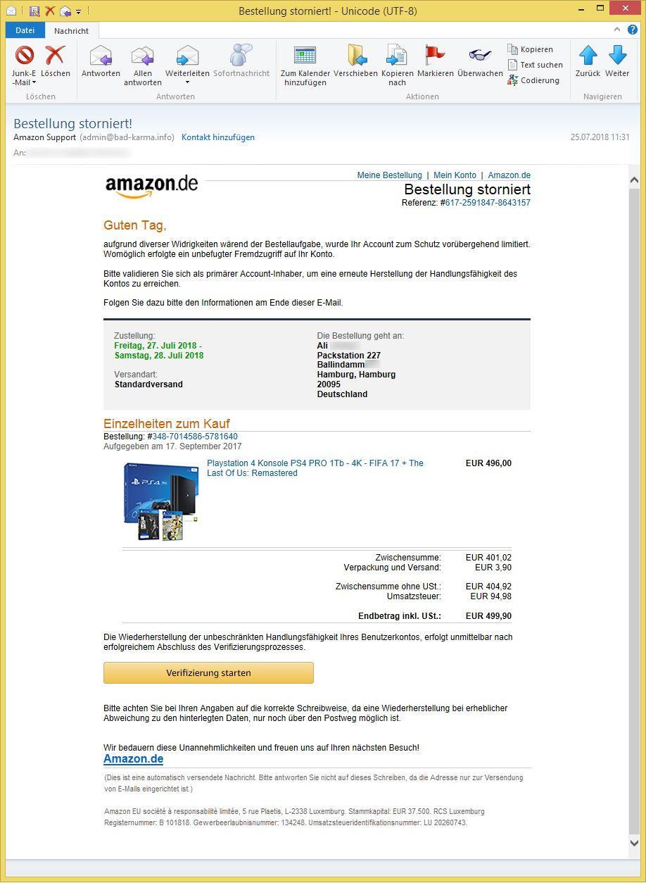 Email Amazon Bestellung Storniert