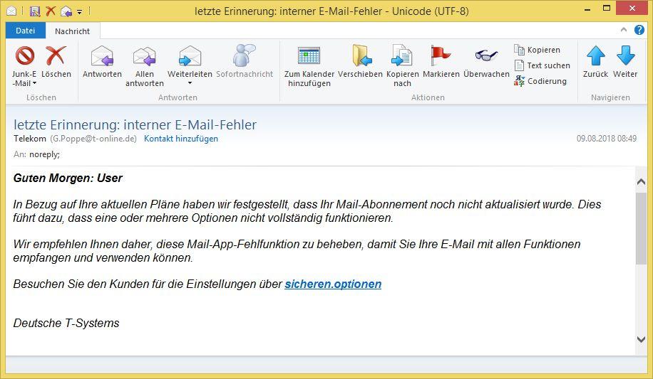 letzte Erinnerung: interner E-Mail-Fehler von Telekom (G