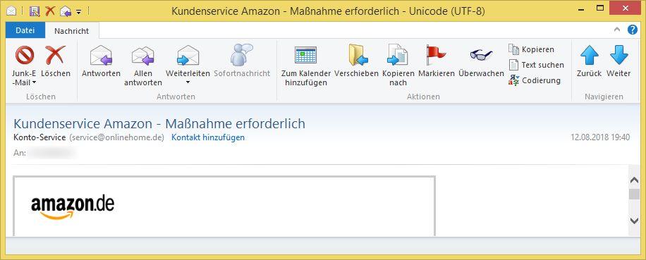 Amazon Mail Maßnahme Erforderlich