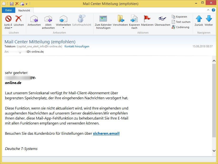 Mail Center Mitteilung (empfohlen) von Telekom (capital