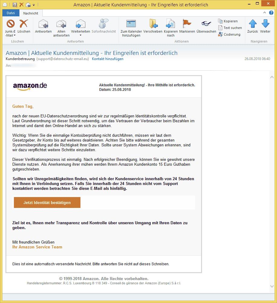 amazon kontoüberprüfung
