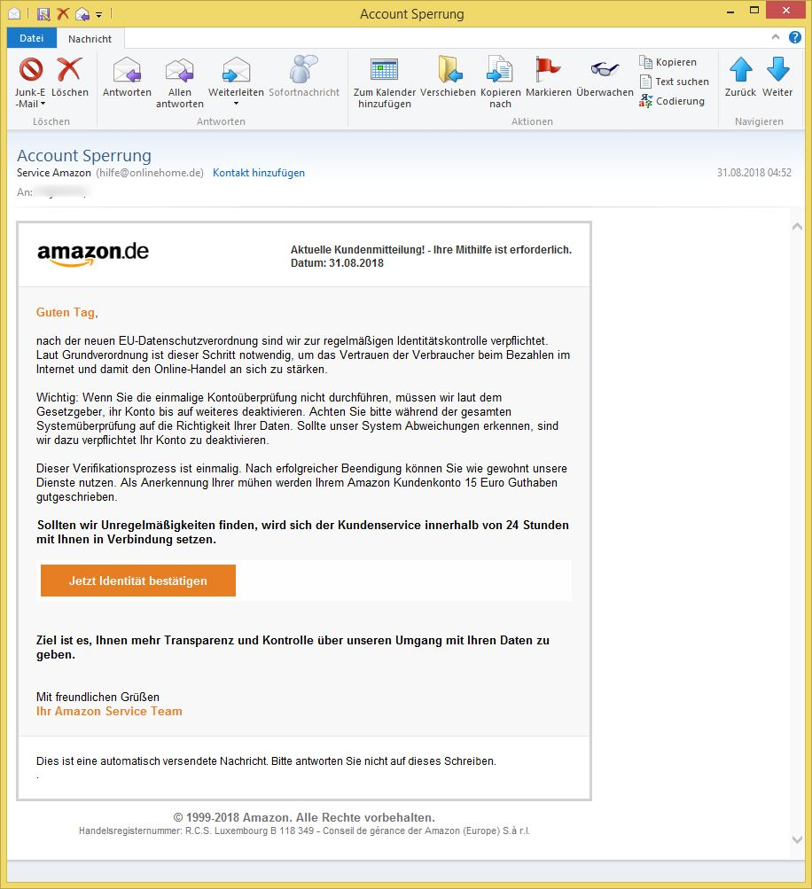 Service Amazon Account Sperrung