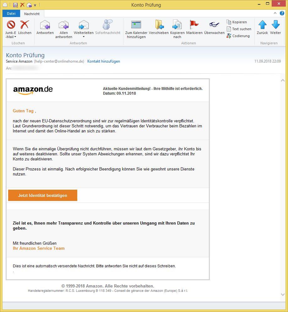 Amazon Identitätskontrolle