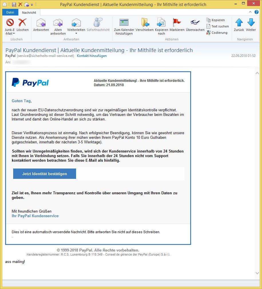 Kundendienst Paypal