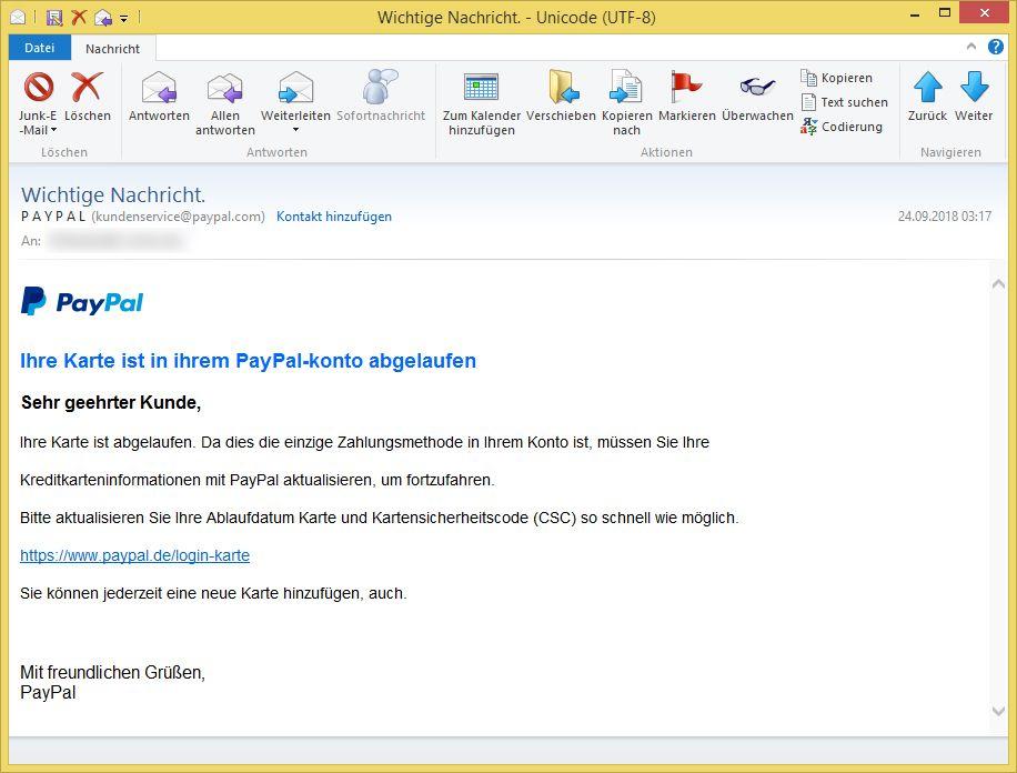 Paypal Zahlungsmethode Aktualisieren