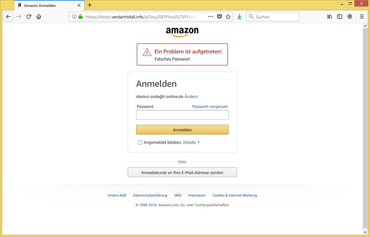 Amazon Plötzlich Falsches Passwort