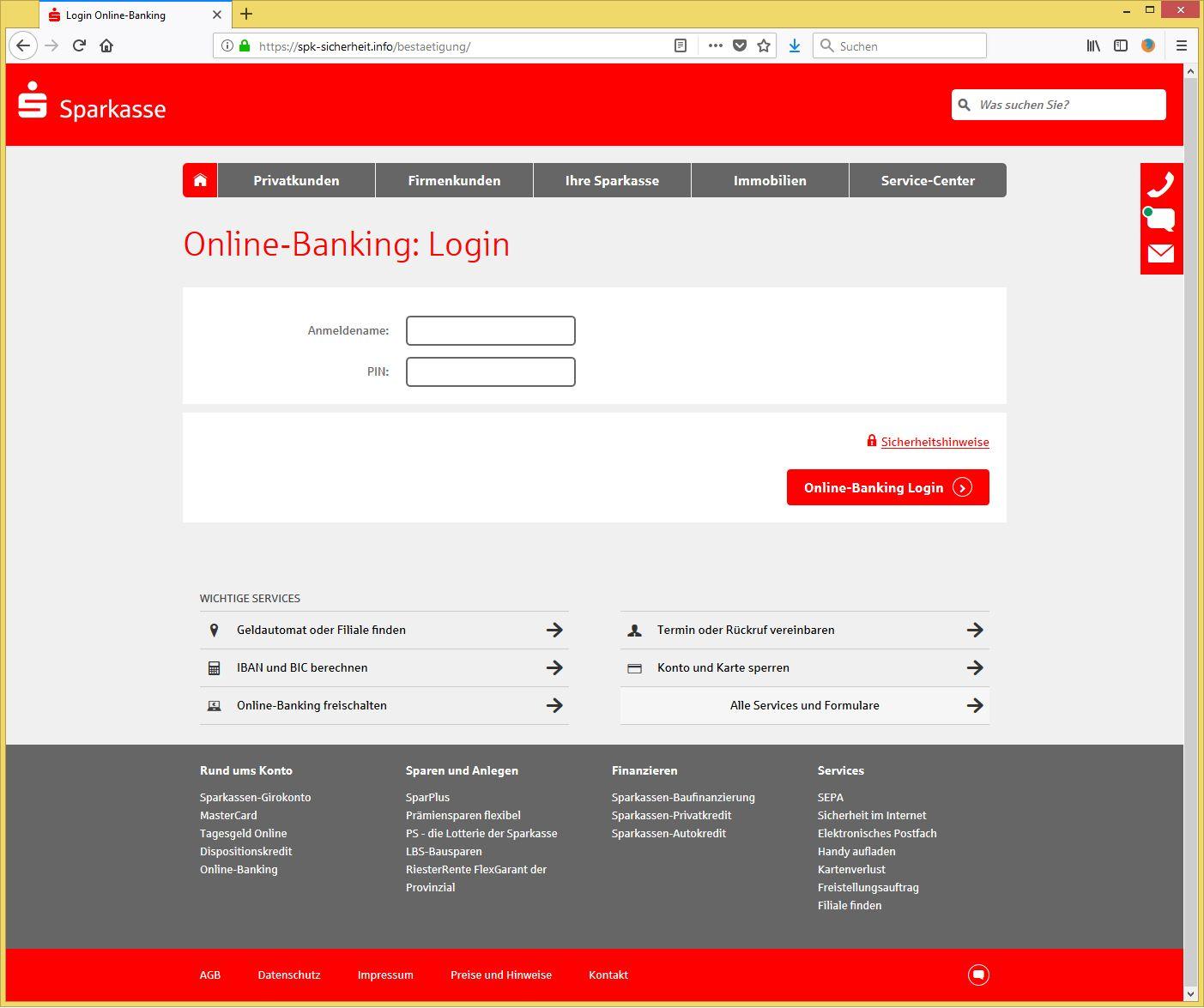 ihr konto wurde eingefroren von sparkasse kundenservice info ist phishing. Black Bedroom Furniture Sets. Home Design Ideas