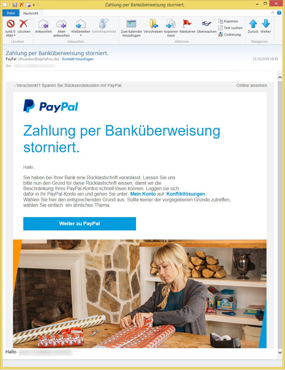 zahlung per bank berweisung storniert von paypal dhuesken ist phishing. Black Bedroom Furniture Sets. Home Design Ideas