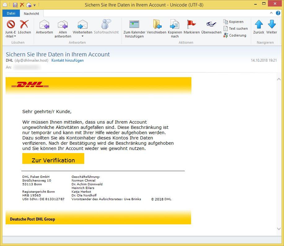 Gefälschte Dhl Mail Geöffnet