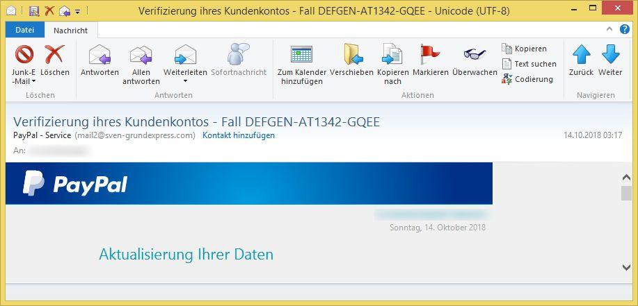 Verifizierung ihres Kundenkontos - Fall DEFGEN-AT1342-GQEE