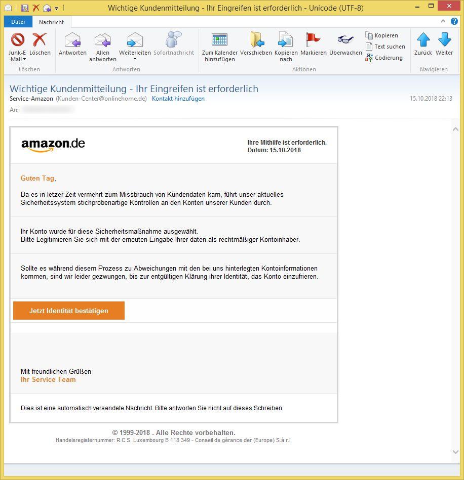 Amazon Wichtige Kundenmitteilung