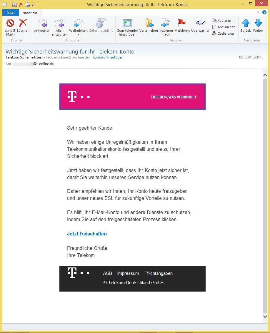Telekom Sicherheitsteam Email