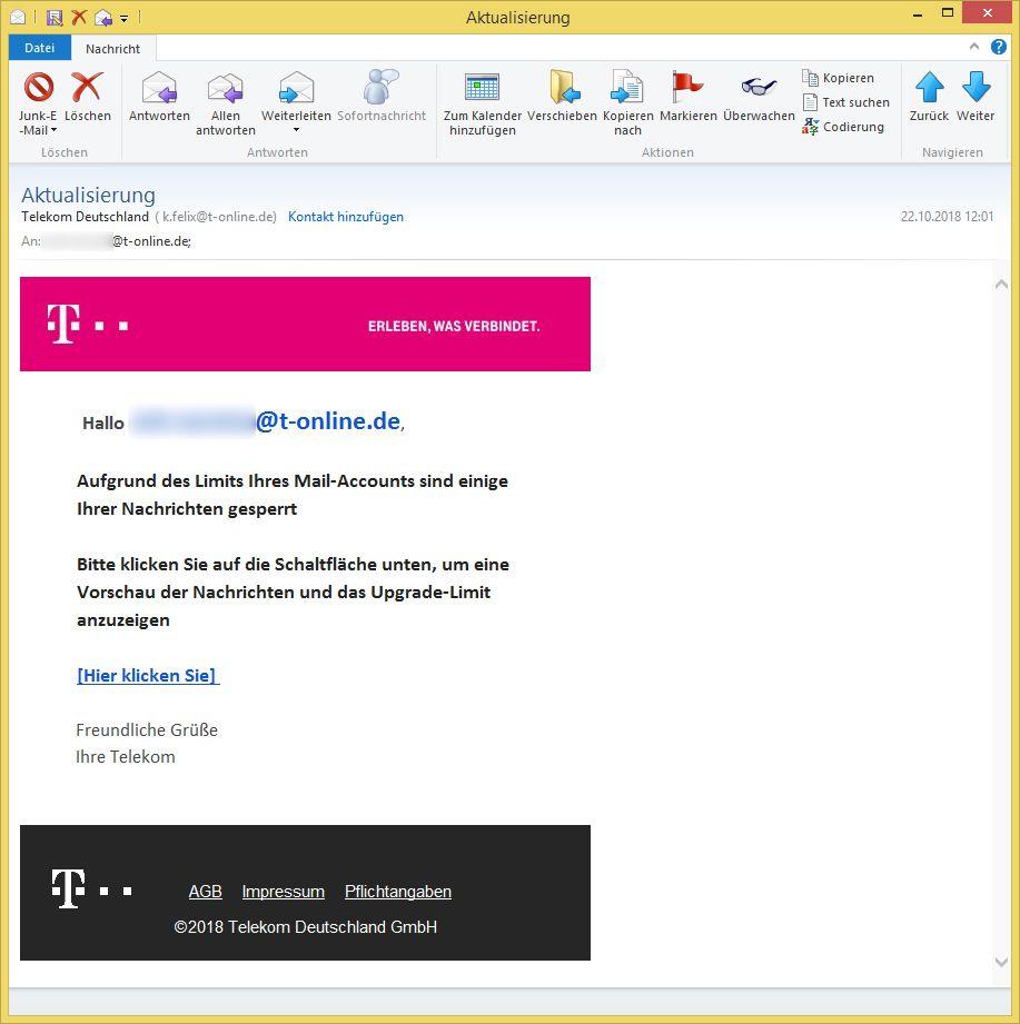 aktualisierung von telekom deutschland ist phishing vorsicht e mail. Black Bedroom Furniture Sets. Home Design Ideas