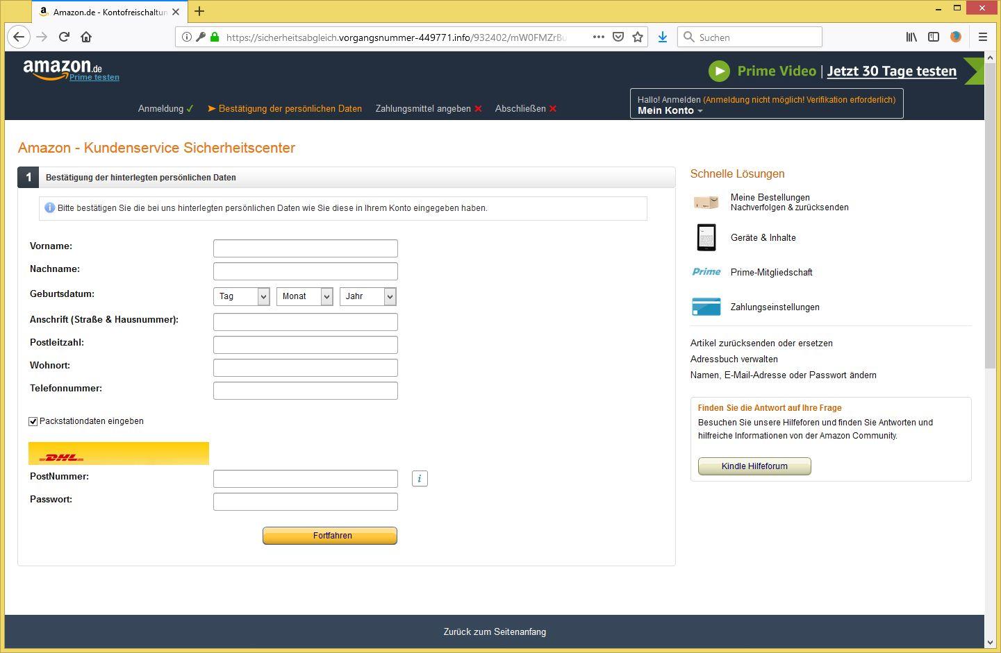 Sicherheitsbenachrichtigung Amazon