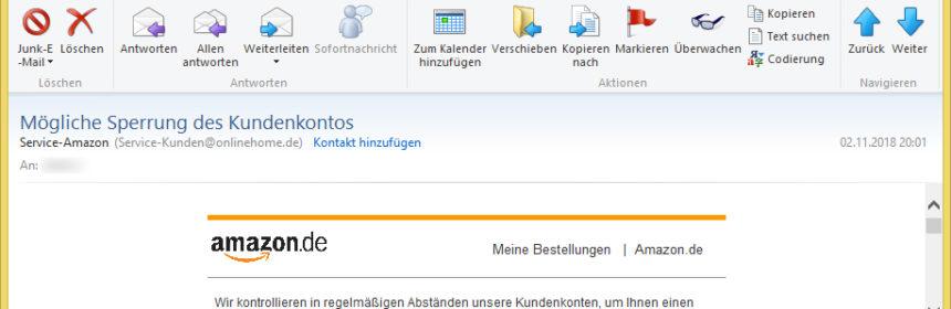 Email Sperrung Amazon Konto