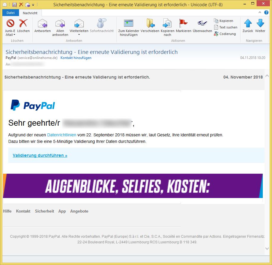 Validierung Paypal