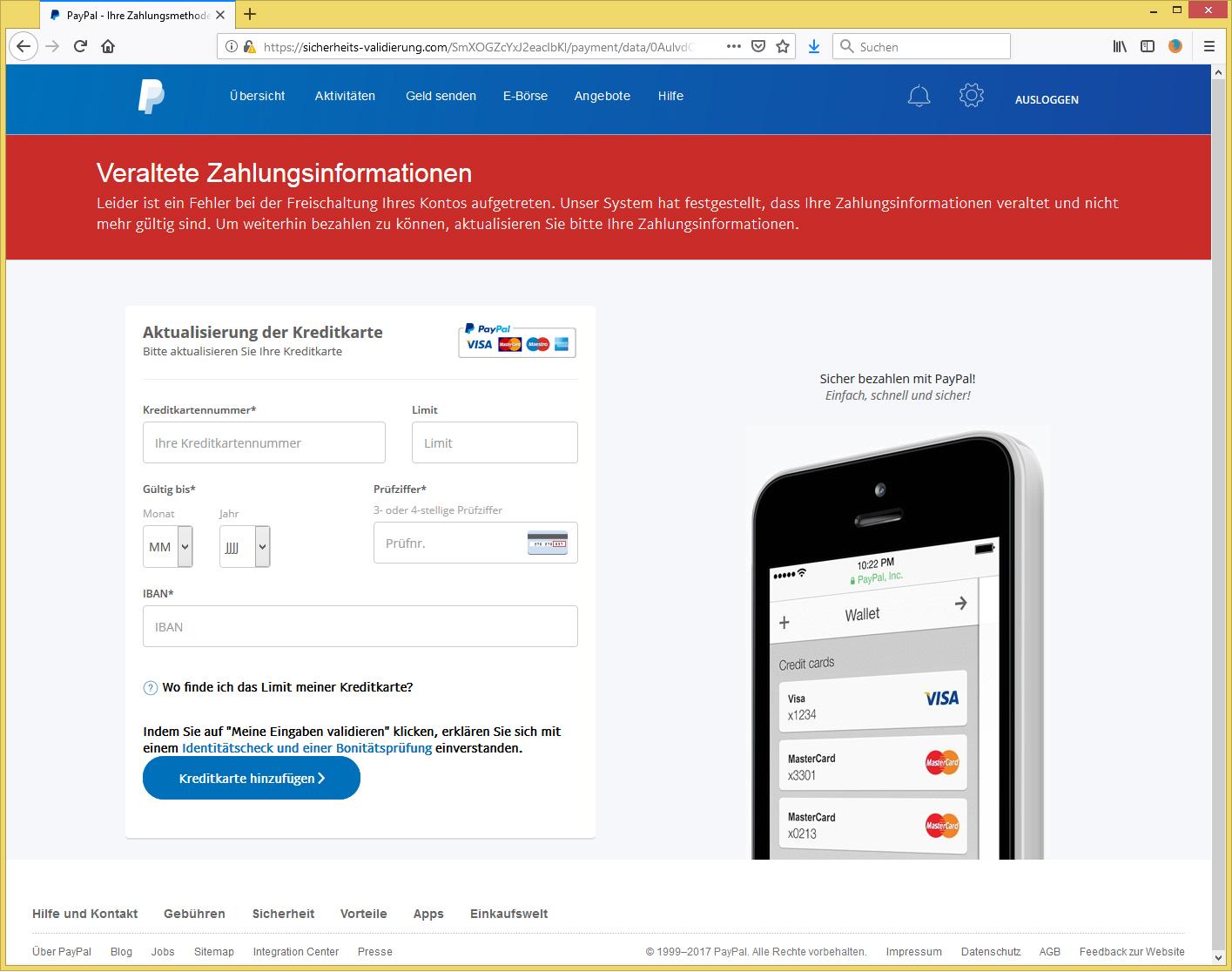 Paypal Bonitätsprüfung