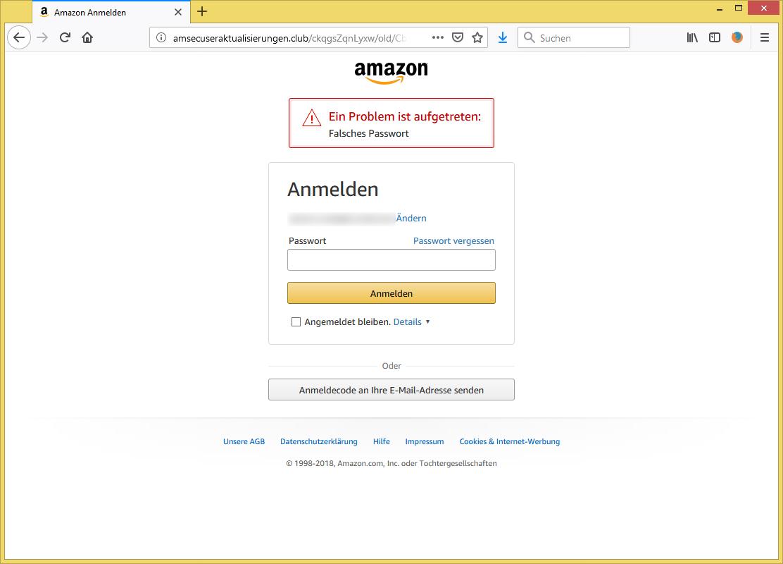 Amazon Ein Problem Ist Aufgetreten: Falsches Passwort